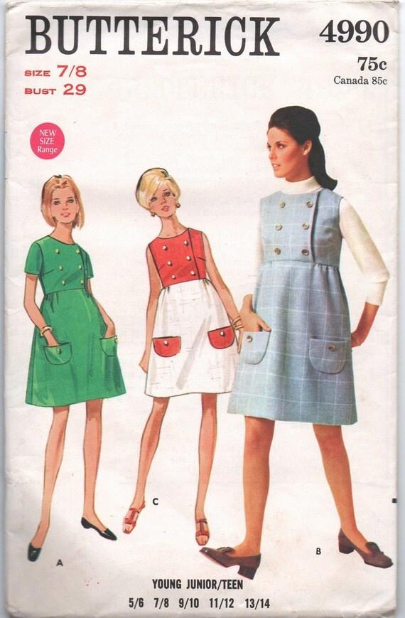 1960s vintage pattern Butterick 4990 1968 size 7 8 bust 29 waist 23 hip 32 Young junior teen one piece dress or jumper Mad Men