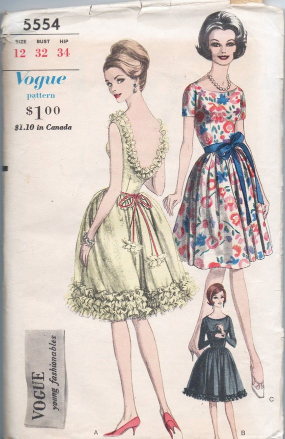 VERY RARE 1960s vintage pattern VOGUE 5554 1962 size 12 bust 32 waist 25 hips 34 Misses one piece dress
