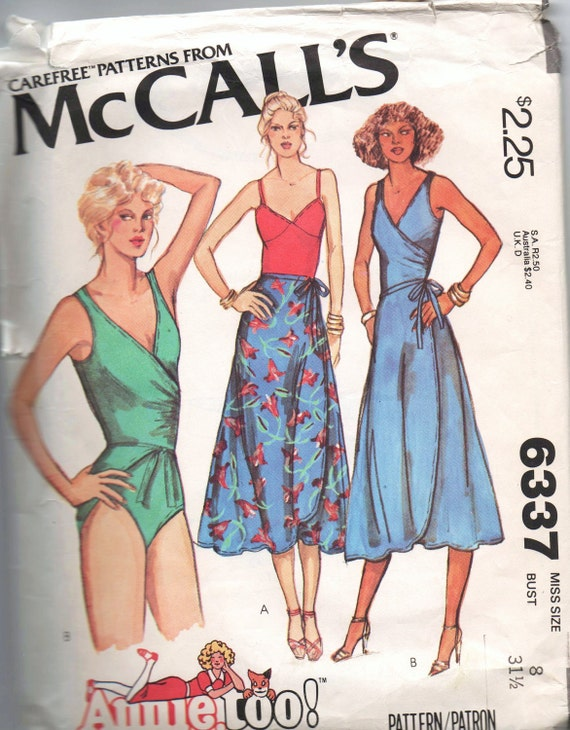 VERY RARE 1970s vintage pattern McCalls 6337 1978 size 8 bust 31 1/2 waist 23 hips 33 1/2 Misses Bodysuit and Wrap Skirt