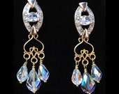 Vintage Crystal Gold Patina Chandelier Earrings