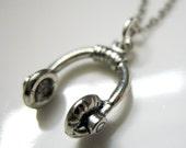 Listen Up Headphones Charm Necklace. unisex pendant