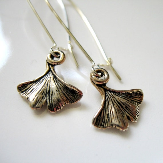 Ginkgo Leaf Silver Pewter Charm Earrings