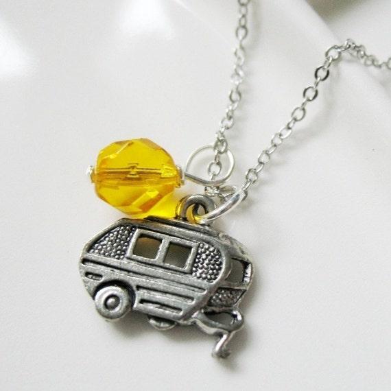 SALE. Silver Bullet Camper Charm Necklace