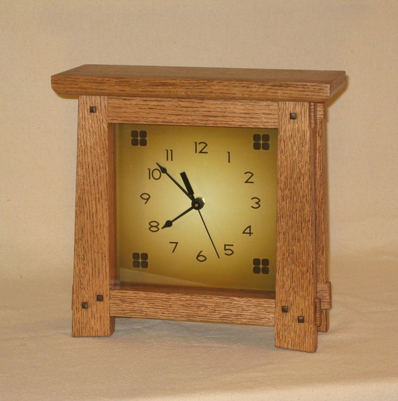 Oak arts crafts mission style wall or mantel clock for Arts and crafts style wall clock
