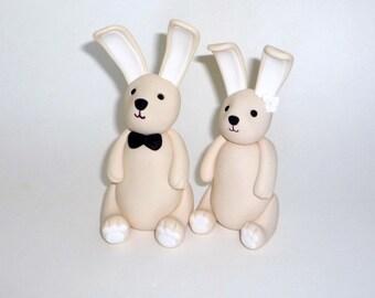 Custom bunny rabbit wedding cake topper