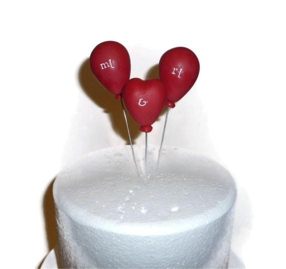 Monogram Balloons wedding cake topper including heart balloon