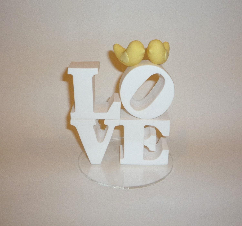 Custom Love Cake Topper With Love Birds