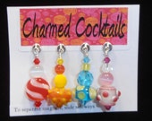 Colorful Glass Beaded Cocktail and Wine Glass Charms - Magnetic