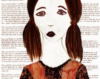 Original Art Painting Mixed Media Child Abuse Mental Illness Poetry - Time Was -  INCLUDES SHIPPING