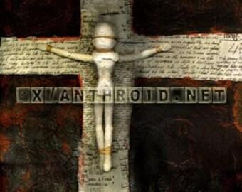 original art mixed media sculpture painting 3-D cruciform cross encaustic wax effigy plaster mask figure religion atheism inc us shipping