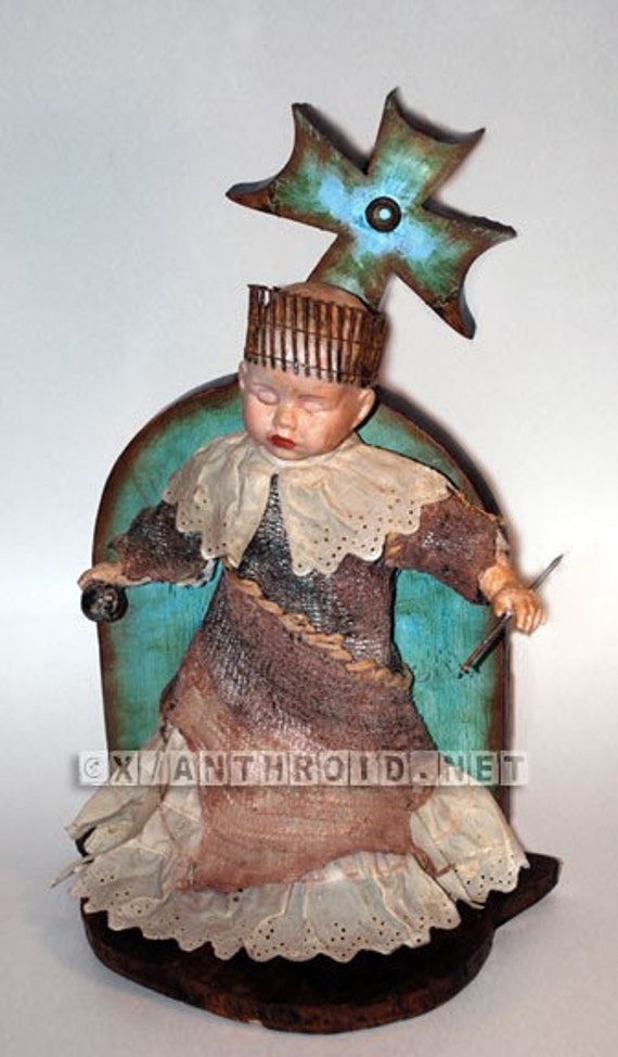 diy ooak original art standing sculpture mixed media doll assemblage The Goddess of Nightmares and Dreams Original Art INCLUDES SHIPPING
