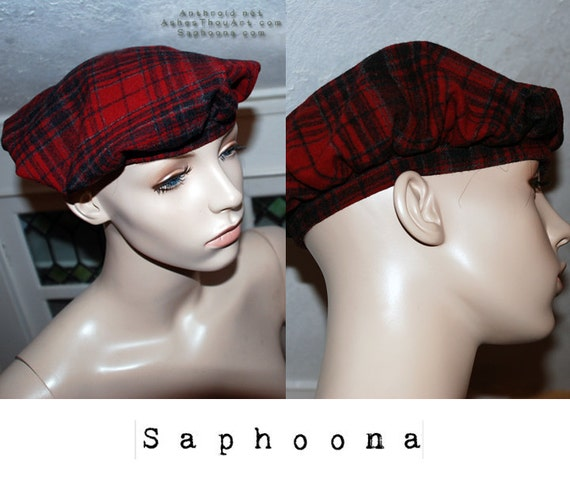 Vintage 60s Red Plaid Beret Hat Cap Military Boho Urchin Newsboy INCUDES US SHIPPING