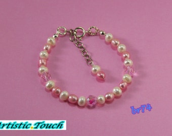 Kid's pearl bracelet adjustable hot pink and 5mm white potato pearl child's bracelet ,pink crystals,sterling silver clasp, gifts under 20