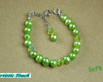 Girl's bracelet 6in child's adjustable bright green 7mm potato freshwater pearls, sterling silver clasp & green crystals, gifts under 10
