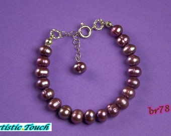 Kid's pearl bracelet 6in girl's adjustable orchid purple 7mm potato pearl bracelet with sterling silver clasp, kids jewelry, gifts under 10
