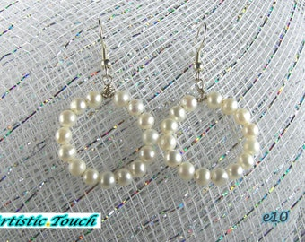Wedding Pearl Hoop Earrings, Bridal pearls,  white 4-5mm freshwater potato pearls with safety hooks, pearl hoop earrings, bridal, birthdays
