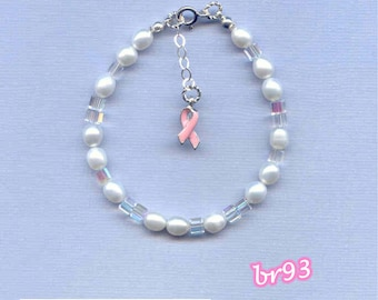 BREAST CANCER Bracelet 7/8in 6mm white or pink rice pearls & 4mm cube crystals w/ sterling silver clasp with pink awareness ribbon charm