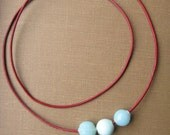 Three Aqua Glass Beads on Red Leather Cord With Magnetic Clasp