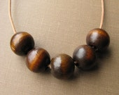 Five Chunky Round Wooden Beads on Camel Leather Cord With Magnetic Clasp