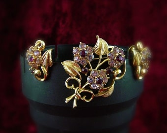 Purple and Pink Coro Floral Brooch and Earring Set