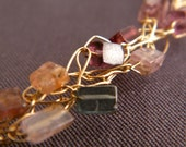 FREE SHIPPING Random Beauty Necklace, Crochet Gold Filled Wire With Tourmaline