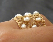 Spread Ring, Crochet Gold Filled Wire and Pearls