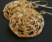 Round Lace Earrings, Crochet Gold Filled Wire