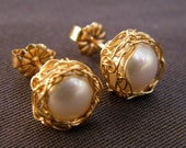 Pearl Post Earrings With Crochet Gold Filled Wire