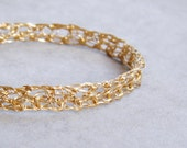 Lace Gold Filled Bangle, Crochet Gold Wire