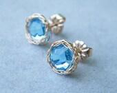 Aqua Blue Earrings, Swarovski Crystal Earrings, Crochet Gold Filled Wire Studs
