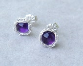 Amethyst Post Earrings With Crochet Sterling Silver Wire, February Birthstone, February Birthday