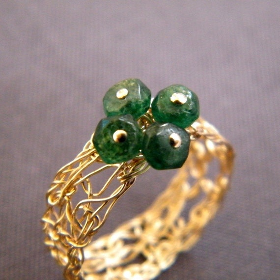 Lucky Clover Ring, Crochet Gold Filled Wire and Avanturine