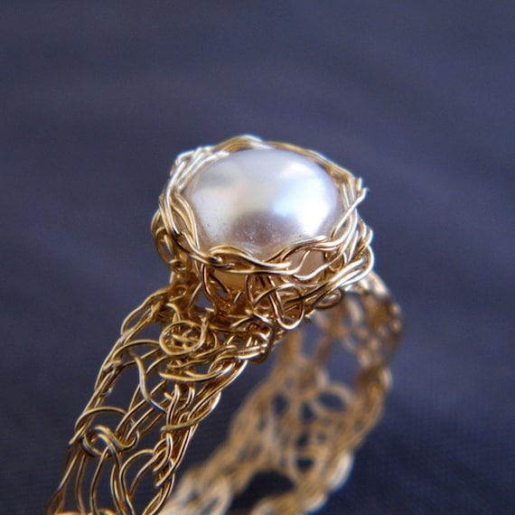 Pearl Gold Ring, Crochet Gold Filled Wire