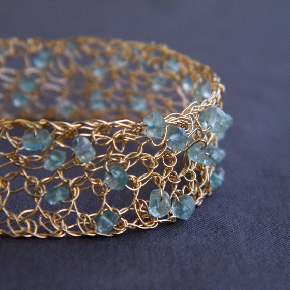 March Birthstone - Natural Aquamarine Bangle, Crochet Gold Filled Wire, OOAK