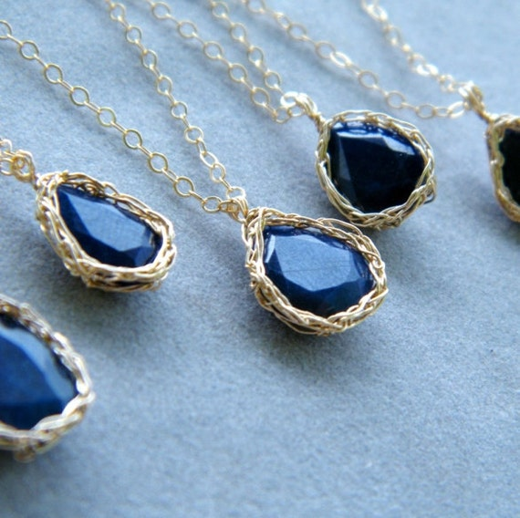 Natural Blue Sapphire Necklace, Crochet Gold Filled Wire, OOAK