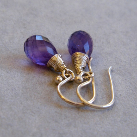 Amethyst Silver Earrings, Sterling Silver Wire, February Birthstone, February Birthday