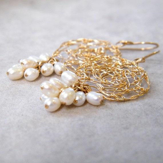 SALE 50% OFF - Pearl Gold Earrings, Crochet Gold Wire, Bridal Drop Pearl Earrings