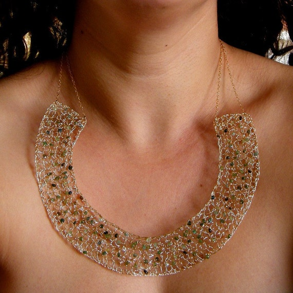 RESERVED FOR MELISSA - Green Tourmaline Gold Necklace, Crochet Gold Wire, Statement Necklace, Bib Necklace