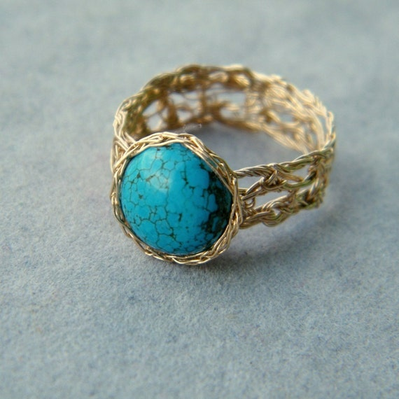Gold Turquoise Ring, Crochet Gold Filled Wire, US Size 9
