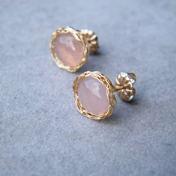 CLEARANCE SALE up tp 70% OFF - Rose Quartz Earrings, Post Earrings With Crochet Gold Wire
