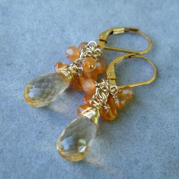 Yellow Citrine Earrings with Carnelian Beads, Gold Citrine Earrings, 14K Citrine Earrings, Chandelier Earrings, Citrine Birhtstone