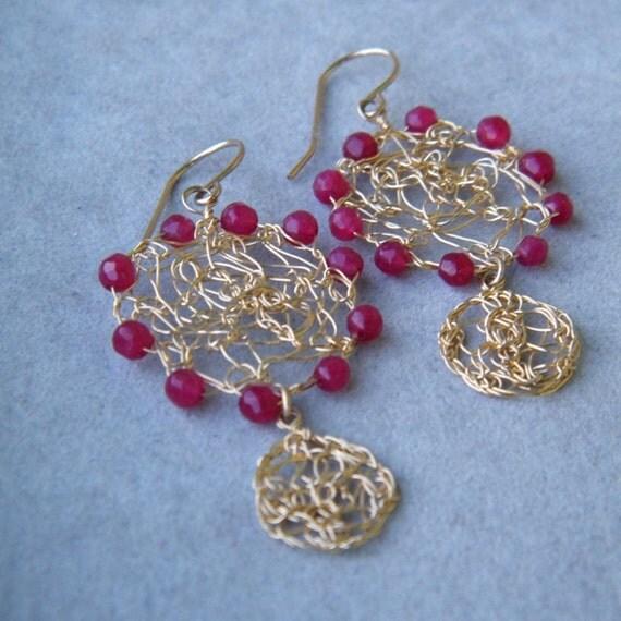 Ruby Jade Gold  Earrings, Crochet Gold Wire, July Birthstone