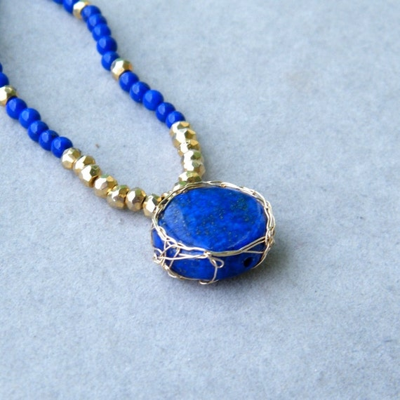 Blue Lapis Necklace with Gold Pyrite, 14k Gold Filled Necklace, Crochet Gold Wire, OOAK