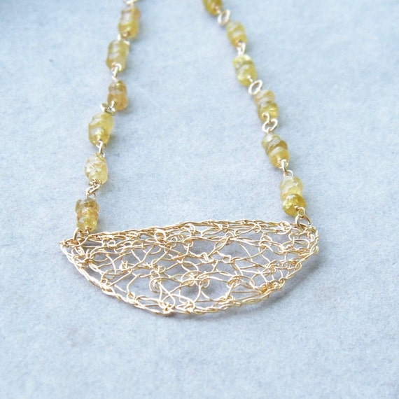CLEARANCE SALE up tp 70% OFF - Tourmaline Gold Necklace, Crochet Gold Wire