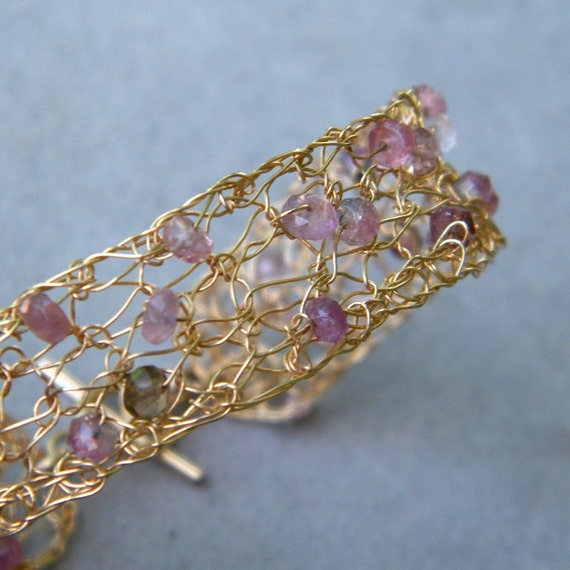 SALE 20% OFF - Pink Tourmaline Bracelet, Crochet Gold Wire, OOAK