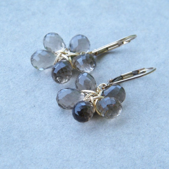 CLEARANCE SALE up tp 70% OFF - Smoky Quartz Earrings,Flower Gemstone Earrings, 14k Gold Filled Wire