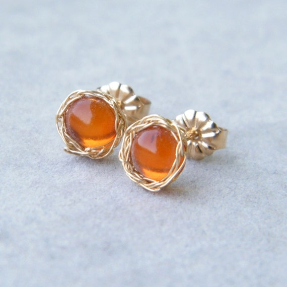 Baltic Amber Post Earrings With Crochet Gold Filled Wire