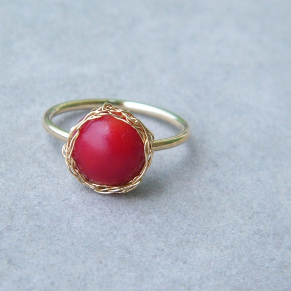 Red Coral Ring, Gold Gemstone Ring, Crochet Gold Wire, Wire Crochet Ring, Size 5.5