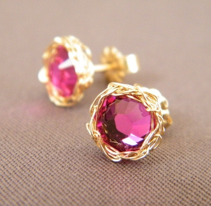 ruby post earrings crochet gold filled wire and swarovski
