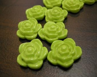 20mm Apple Green Rose Flower Beads (10x)